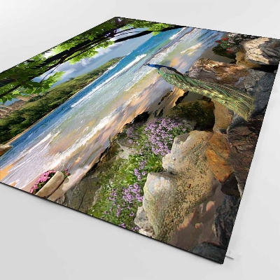 Else Tropical Coast Sea Landscape Beach Peacock 3d Print Non Slip Microfiber Living Room Decorative Modern Washable Area Rug Mat