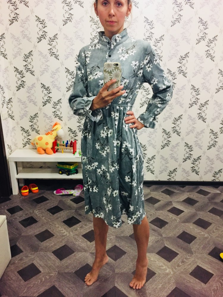 High Elastic Waist Vintage Dress A Line Style Women Full Sleeve Flower Plaid Print Dresses Slim Spring Dress 25 Colors photo review