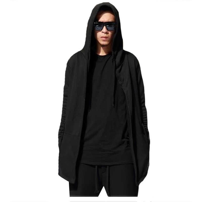 2018 Erkek Hip Hop Hoodies Tişörtü Erkekler Siyah Manto Pelerin Kapşonlu Elbisesi Ceket Uzun Kollu Ceket Streetwear Hoodie Artı Boyutu 3XL