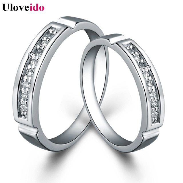 Good Uloveido Cubic Zirconia Couple Anniversary Rings Silver Color Engagment Wedding  Ring Fashion Jewelry For Him And