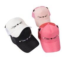 200 unids lote encantadora del oído de gato gorra de béisbol mujeres  todo-fósforo ocasional sombrero sombrilla malla Color sólid. b71531b9535