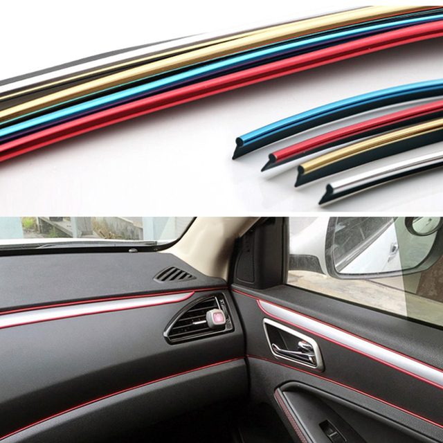 5 m Auto interieur Decoratieve Draad Stickers Decals Chrome Styling ...