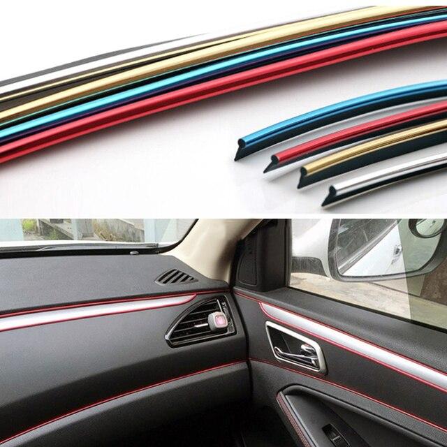 5 m Universal Guarnição Tira Interior Do Carro Decorativo Fio Adesivos Decalques Cromo Estilo Guarnição Decoração Do Carro Tira