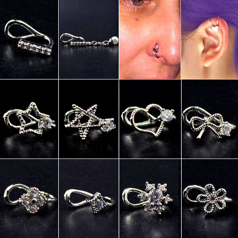 Zircon Star Flower Top Ear Clasp Ear Clip Faux Piercing Non Piercing Earring Gem Flower Fake Nose Ring Septum Clicker Jewelry