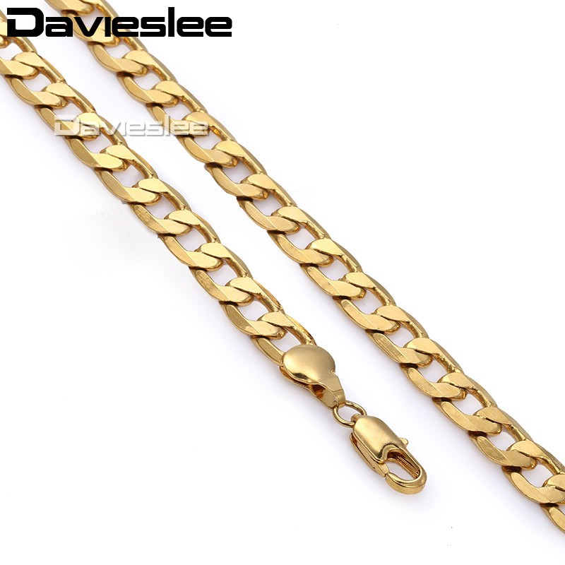 Davieslee Mens Womens Necklace Chain Yellow Gold Filled Chain Curb Link Customized 8mm LGN13