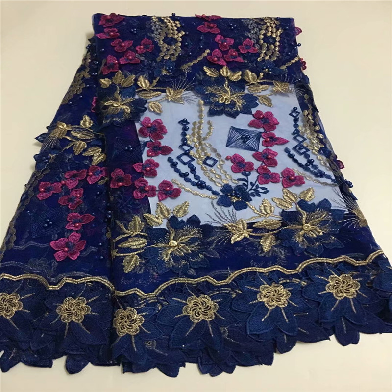 HFX Latest High Quality Nigerian Net Lace Guipure African Embroidered Tulle Lace Royal Blue Beaded Lace Fabric X968-1HFX Latest High Quality Nigerian Net Lace Guipure African Embroidered Tulle Lace Royal Blue Beaded Lace Fabric X968-1