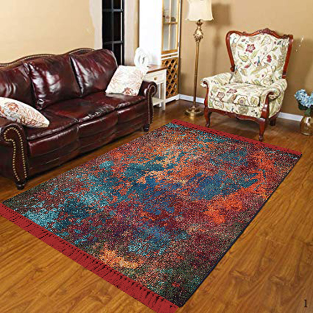 Else Orange Blue Damson Abstract Watercolor 3d Print Anti Slip Kilim Washable Decorative Kilim Tassel Area Rug Bohemian Carpet