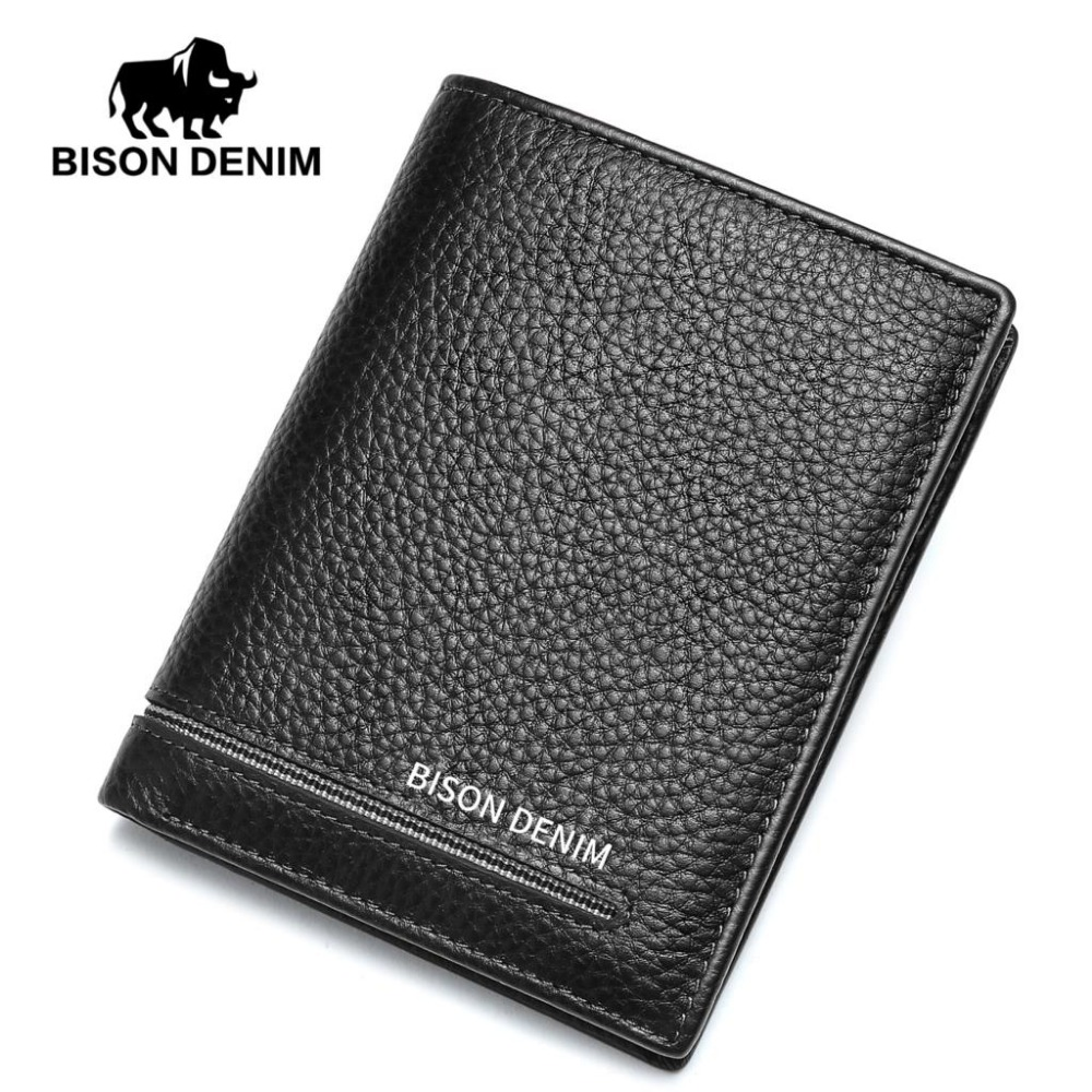 BISON DENIM fashion men wallets genuine leather short slim bifold wallet card holder purse fashion anime cartoon wallets call box doctor who wallet leather slim purse bifold short money bag clip young boy student wallet