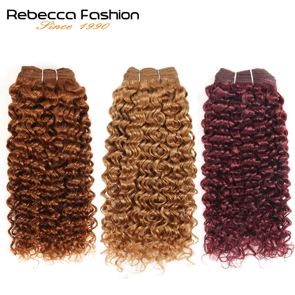 Rebecca Remy Brazilian Curly Weave Human Hair Bundles 100g Pre-Colored Wine Red Kinky Curly Hair Extension Free Ship #30 #27