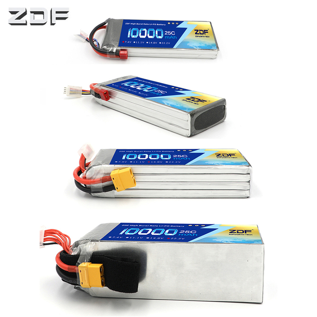ZDF RC Lipo Battery 10000mAh 2S 3S 4S 5S 6S 7.4V 11.1V 14.8V 18.5V 22.2V 25C MAX 50C Drone AKKU For RC Helicopter Airplane