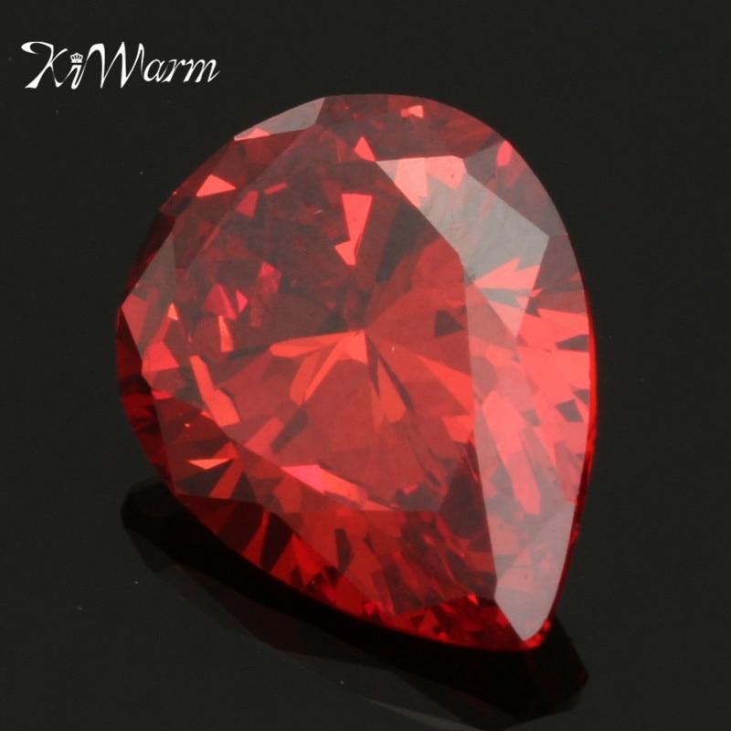 KiWarm Beautiful 12.35CT Orange Red Pear Ruby Dianond Drop Artificial Zircon Gemstones 12X16mm DIY Jewelry Pendant Crafts Gift