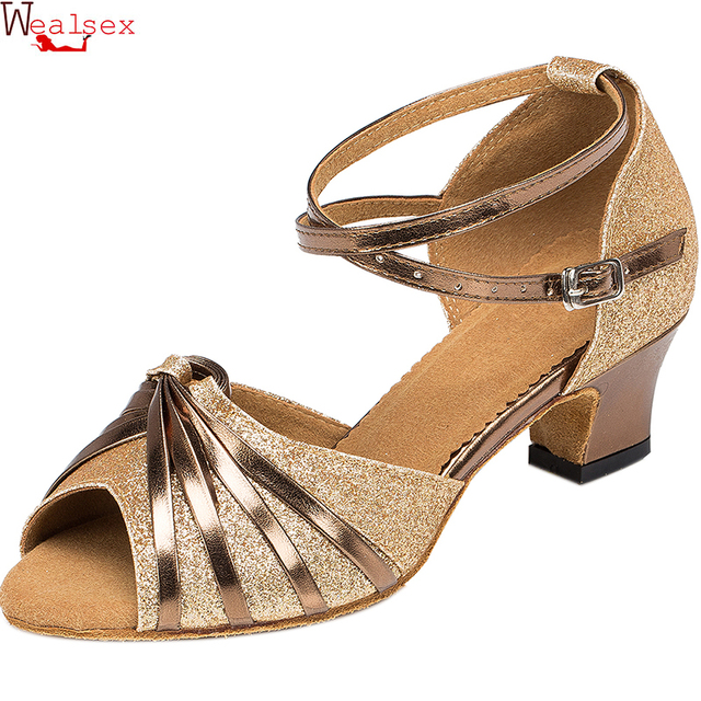 D'été Wealsex 6 Sandales Talon Carré De Chaussures Cm Professionnel Talons Femmes Parti Hauts Salsa L4jA5R