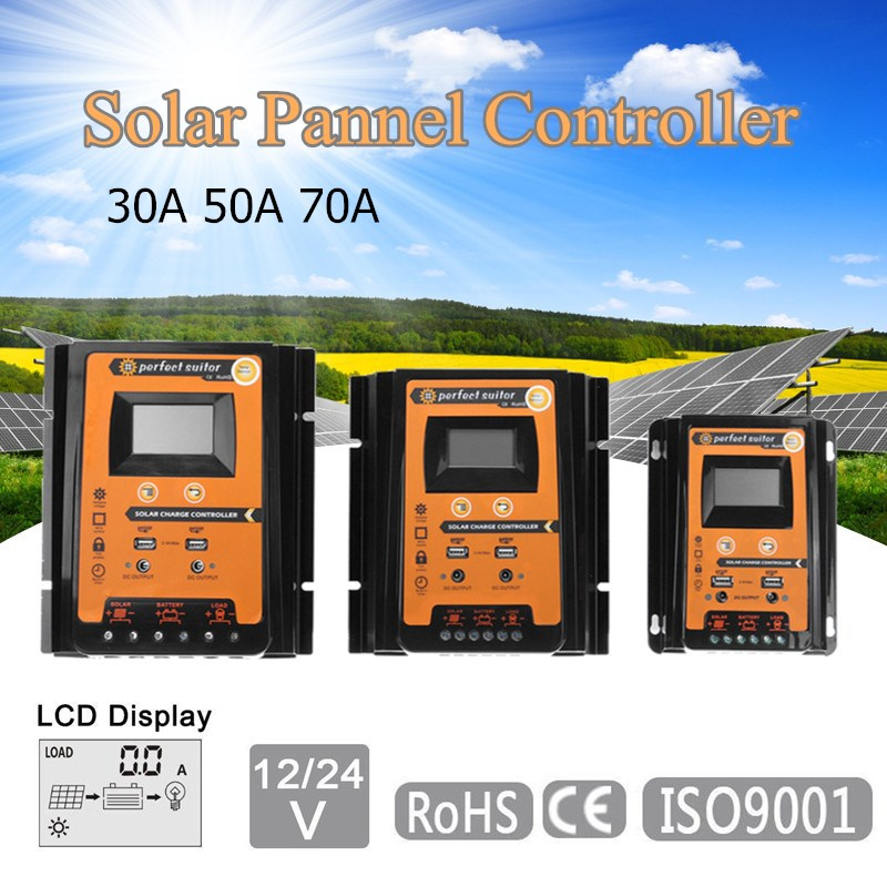30A/50A/70A 12V/24V Solar Panel Battery Charge Controller PWM Intelligent LCD Display Solar Collector Regulator Dual USB Output 30a 50a 12v 24v lcd display pwm solar panel battery charge controller regulator