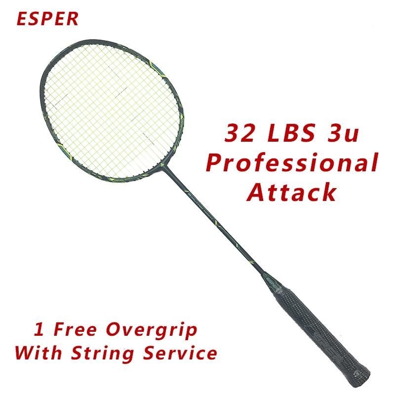 Esper Professional Attack Carbon Badminton Racket Up 32Lbs 3U Super Foerce Woven With String Racquet Adult Badminton Racket
