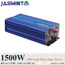 1500W 60V/72VDC to 110V/220VAC Off Grid Pure Sine Wave Single Phase Solar or Wind Power Inverter, Surge 3000W