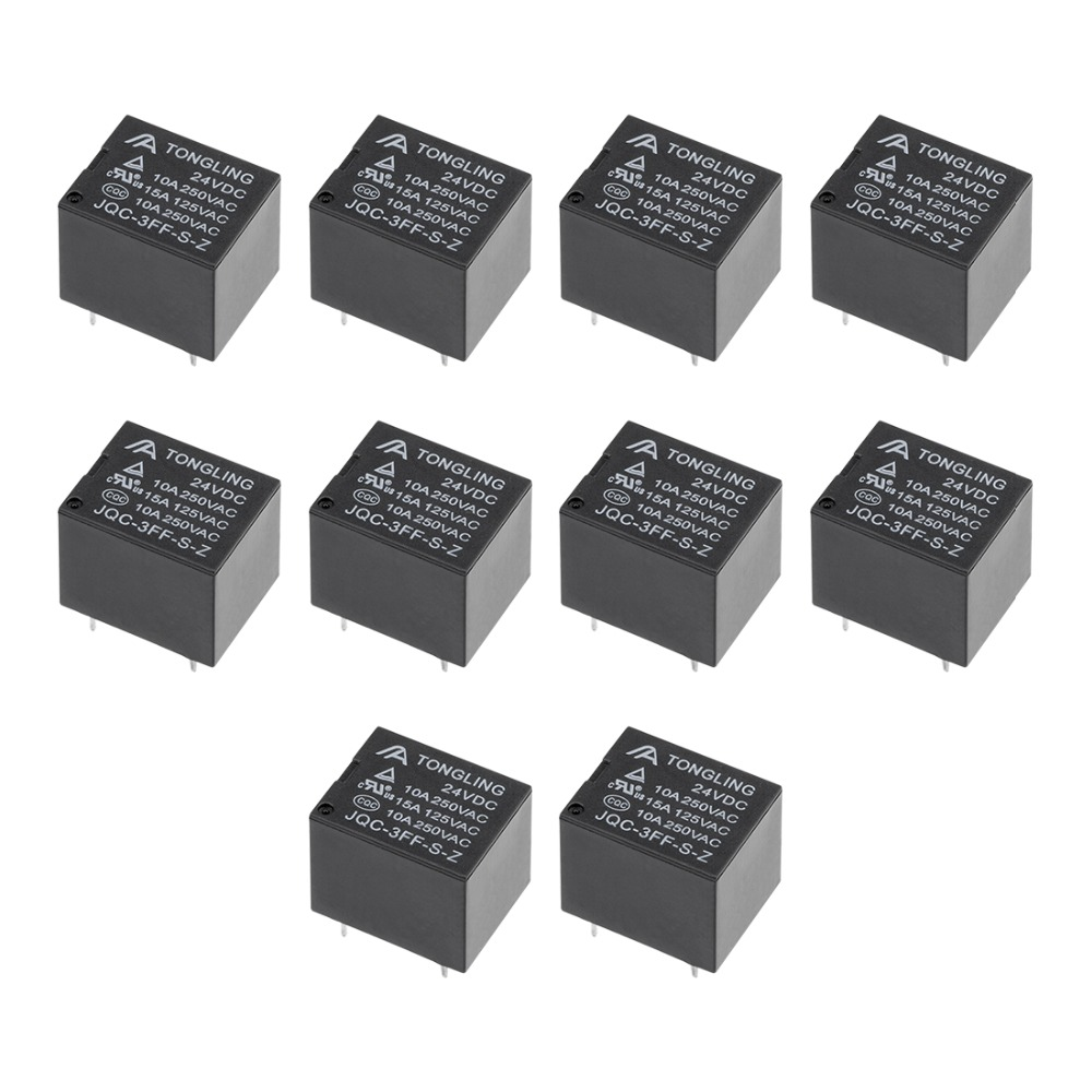 UXCELL 10Pcs Relays JQC-3FF-S-Z DC 24V Coil SPDT 5 Pin PCB Electromagnetic Power Relay Electrical Equipment Electrical Supplies
