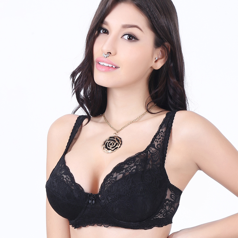 Women Push Up Sexy Bras Plus Size Black Closure Adjust-straps Bras Solid Lace Femme Cotton 3/4 Cup Brassiere Underwire 2004