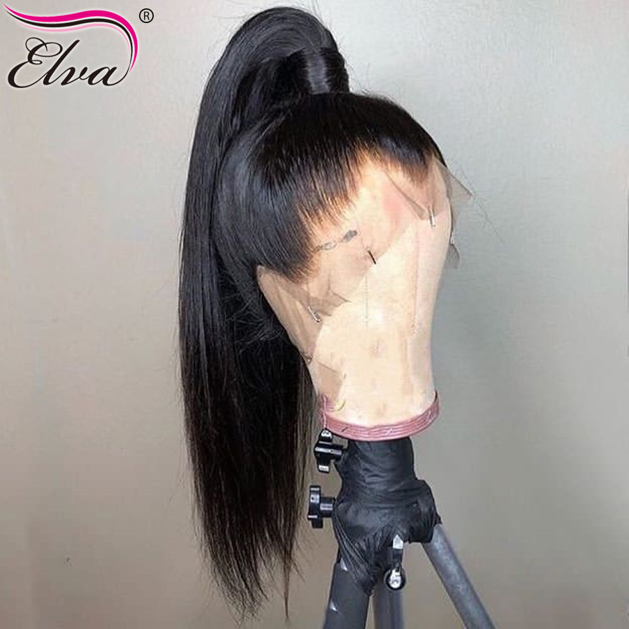 Elva Hair 360 Lace Frontal Wig For Black Women Brazilian Straight Lace Front Human Hair Wigs With Baby Hair Pre Plucked RemyHair