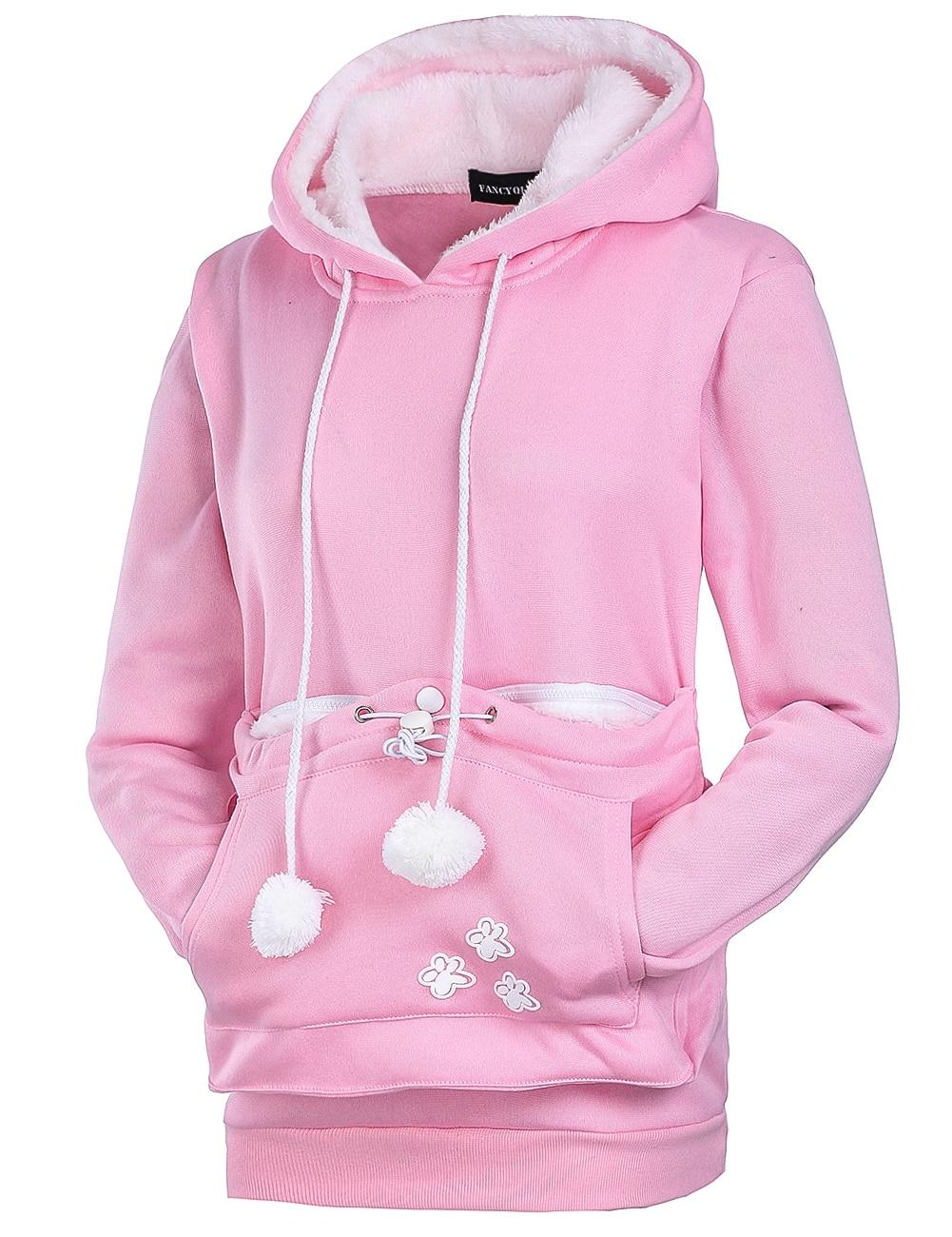 Womens Long Sleeve Crop Top Hoodies US American Flag Cat Ear Lumbar Hoodie Pullover Sweater