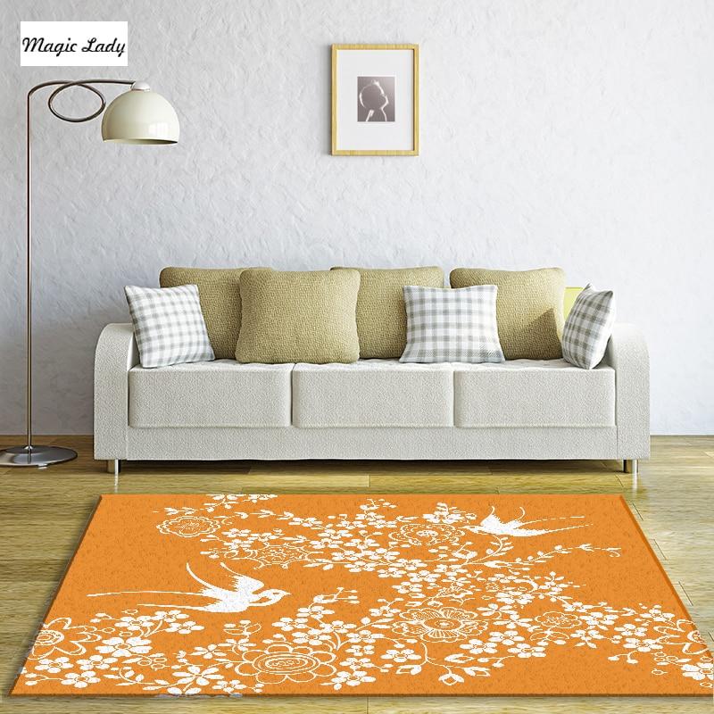 Tapis Orange Salon Chambre Oriental Floral Japonais Sakura Arbre ...