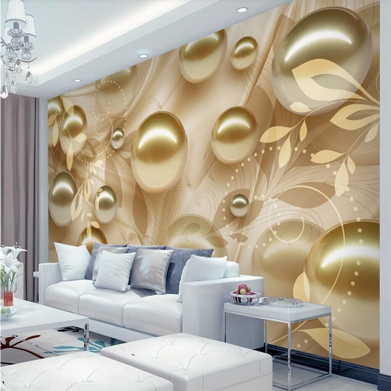 Golden pearl aesthetic pattern stereo TV background professional production of large-scale wallpaper mural background wall