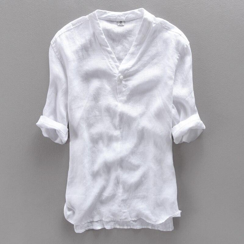 Chinois hommes de pur lin chemise à manches courtes mâle couleur pure restauration manières antiques mince section v est obtenu lâche chanvre matériel T