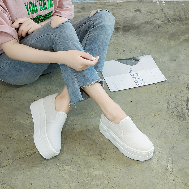 Womens Girls Slip On Casual Low Tops Trainers Canvas Flatform Shoes Flats Pumps