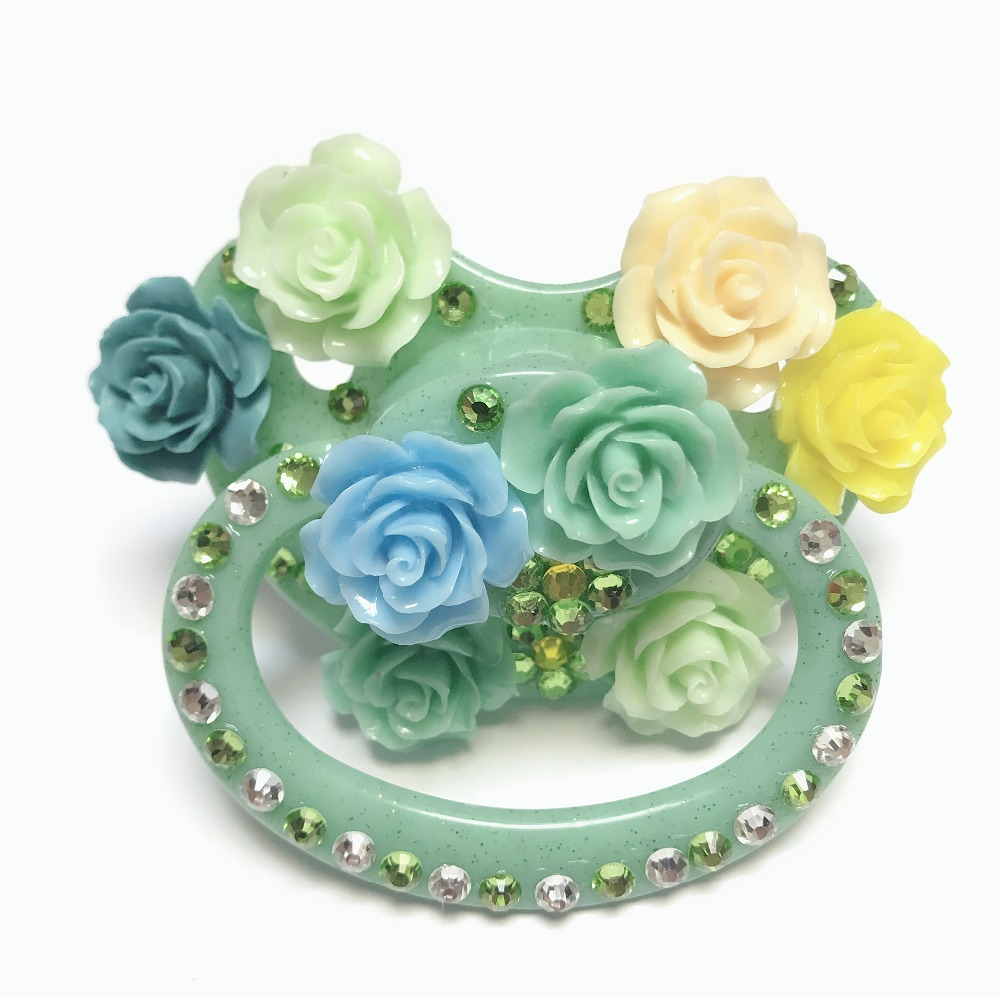 MIYOCAR Unique Handmade Bling Green Adult Pacifier Adult Sized Cute Gem Pacifier Dummy ABDL Silicone Nipple Flower Pacifier