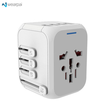 Wearpai International Travel charging adapter Universal 3USB Adapter plug with 3.4A Power Adapter Wall Charger for EU, AU, Asia