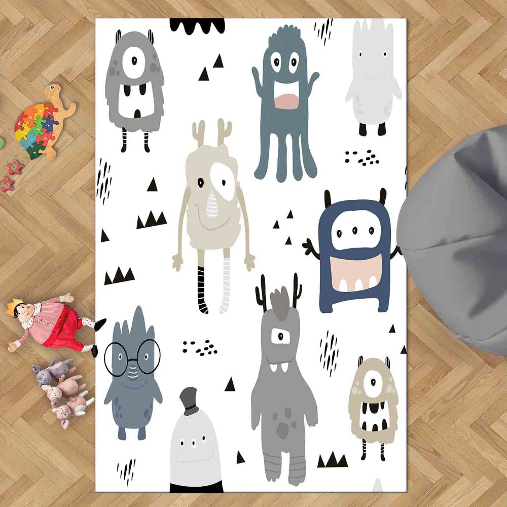 Else White Floor Gray Blue Funny Sweet Monsters 3d Print Non Slip Microfiber Children Kids Room Decorative Area Rug Kids  Mat
