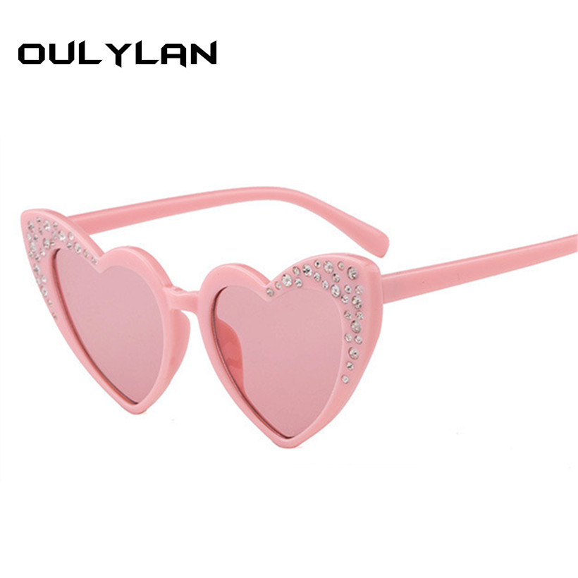 Oulylan Kids Rhinestone Sunglasses Baby Heart shaped Sun Glasses Kids Fashion Love Eyewear Gift For Children Cute Heart Glasses