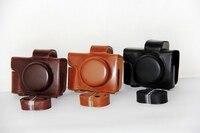 新しいカメラ革ケースカバー用オリンパスom-d e-omd EM10II m10 markii (短いレンズ14〜42ミリメートルレンズ)付きストラッ