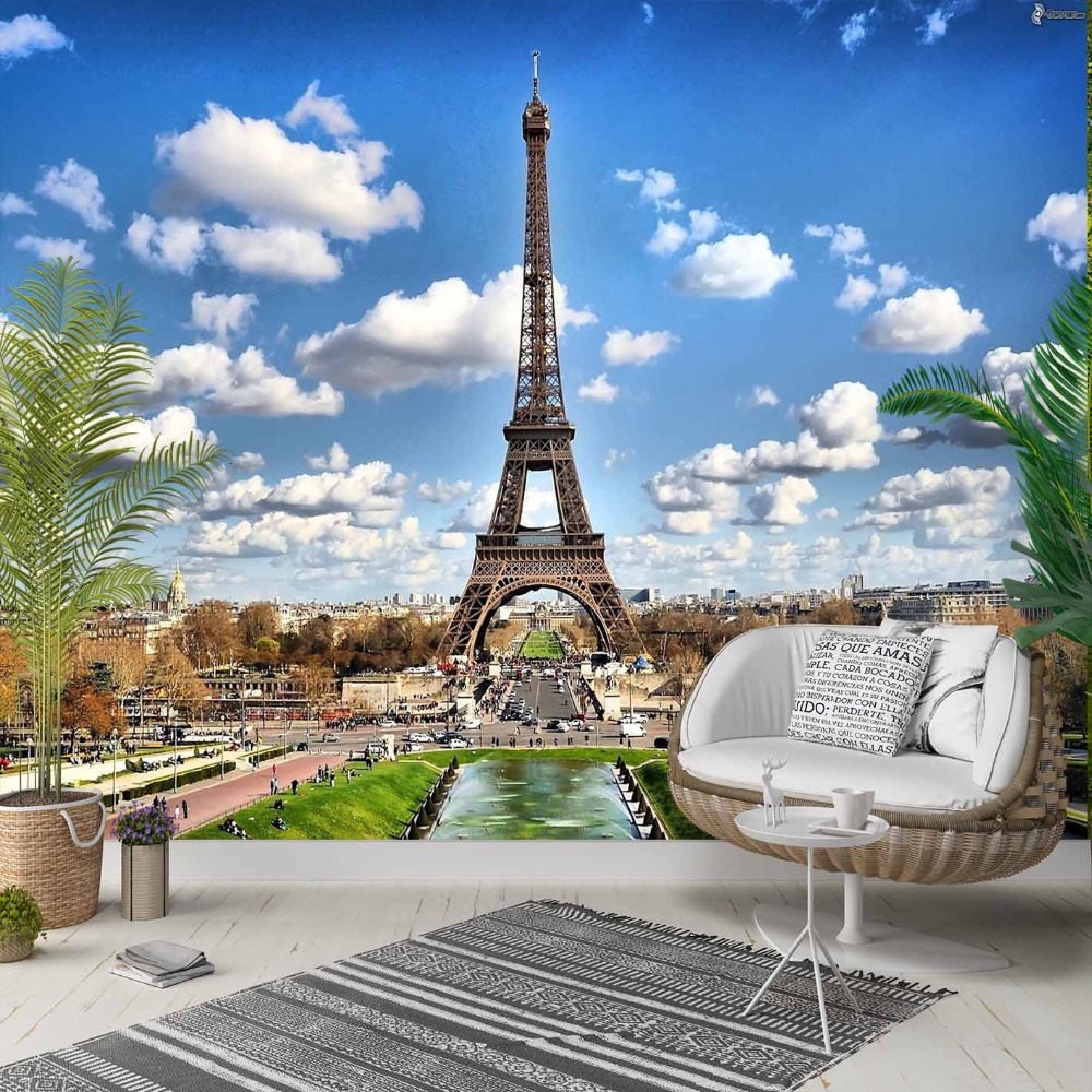 Else Blue Sky Clouds Eiffel Tower In Paris 3d Photo Cleanable Fabric Mural Home Decor Living Room Bedroom Background Wallpaper