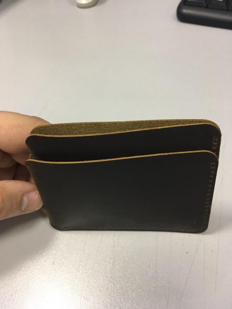 Fashion Men Credit ID Card Holder Colorful Crazy Horse Leather Travel Mini Wallet Retro Vintage Business Purse Case Wholesale photo review