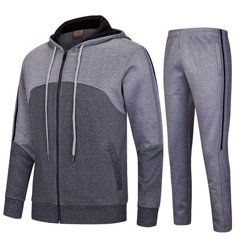 Automne hiver hommes Sport costume coton Dacron grande taille ensembles de course pull avec fermeture à glissière Sport porter formation football Jogging costume RS010