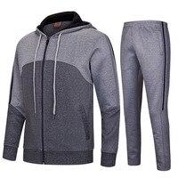 Autumn Winter Men Sports Suit Cotton Dacron Large Size Running Sets Zipper Sweater Sport Wear Training Soccer Jogging Suit RS010