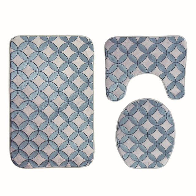 Non Slip Absorbent Washable Bathroom Mats Set Toilet Carpet Shower