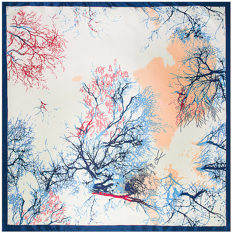 Hand-painted Branches Oil Painting Square Scarf Silk Scarf For Women Hijab Shawl Luxury Brand Foulard Scarves Wraps For Ladies