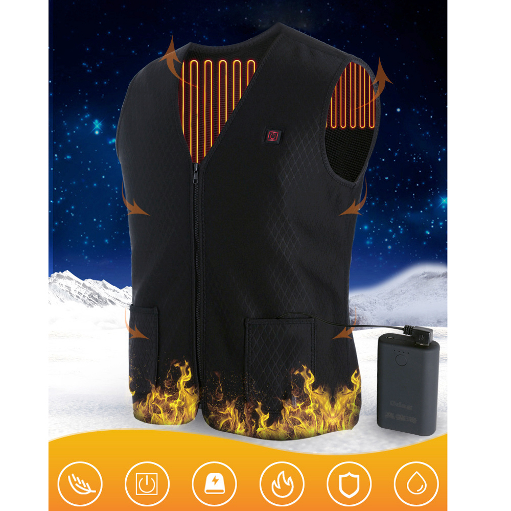 Top Unisex Heated Vest Winter USB Heater Men Women Electric Vest Waistcoat Thermal Warm Clothing Black Color