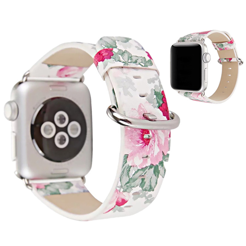ASHEI New Floral Printed PU Leather Band for Apple Watch Series 3 Series 2 Series 1 Women Replacement Strap Wristbelt for iWatch kiind of new blue women s xl geometric printed sheer cropped blouse $49 016
