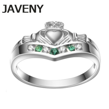 925 Sterling Silver Emeralds CZ Promise Irish Claddagh Womens Engagement Bridal Wedding Rings Birthday Gift 12pcs Lots Wholesale