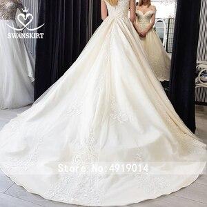 Image 5 - Vintage Beaded Lace Wedding Dress Appliques Off Shoulder A Line Princess Bride Gown Court Train Swanskirt F125 vestido de noiva