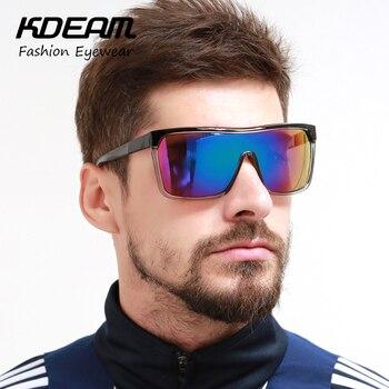 UV400 KDEAM Marca Men Óculos de Proteção Óculos De Sol Flat top Quadro Mulheres Grandes Óculos de Sol Do Esporte Óculos À Prova de Vento 4 cores com Caso KD802