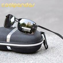 COOLPANDAS Polarized Sunglasses Men Brand Designer Steampunk Rectangle Driving Sun Glasses for Outdoor oculos de sol UV400