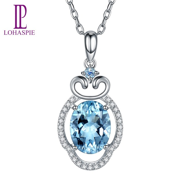 LP Customized Jewelry Natural Gemstone Aquamarine 9K 10K 14K 18K White Gold Cloud Diamond Pendant For March Birthday Gift Girl's