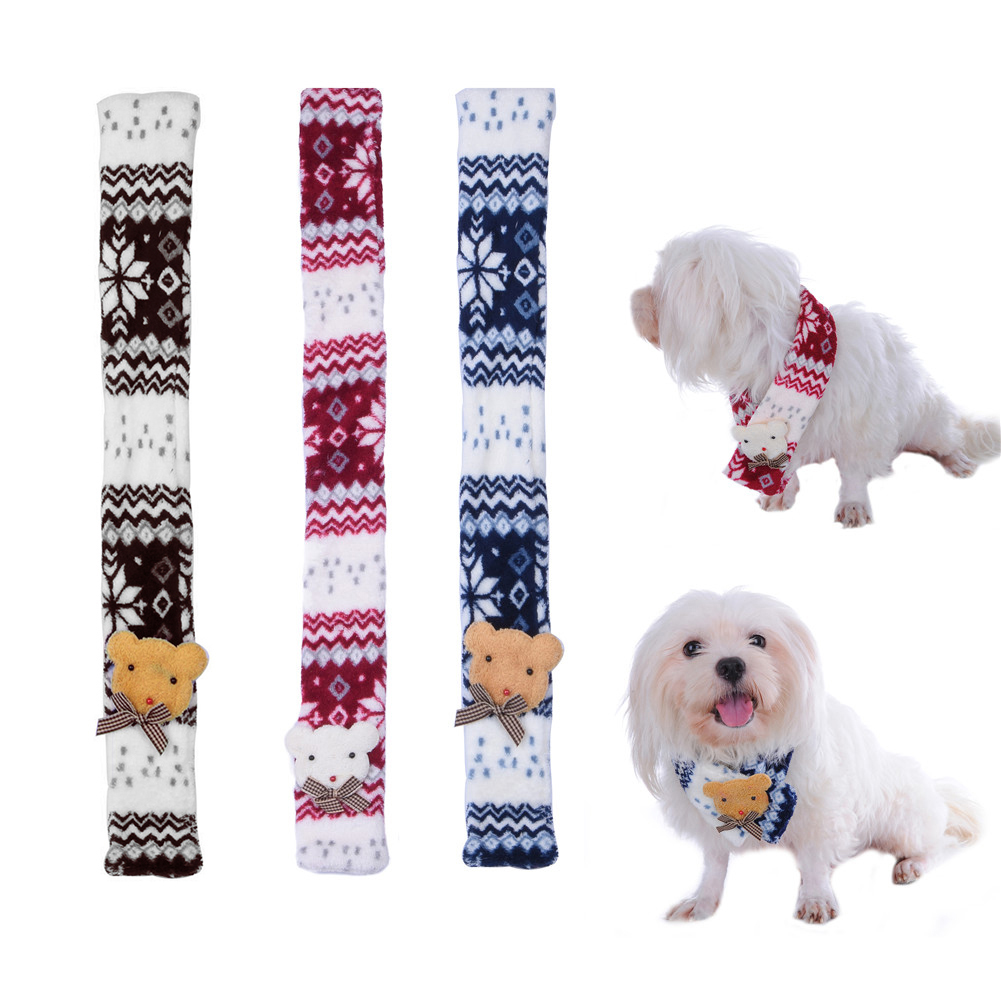 Presents From The Dog Part - 15: Christmas Pet Dog Scarf Soft Warm Bear Decor Snowflake Pattern Puppy Present(China  (Mainland