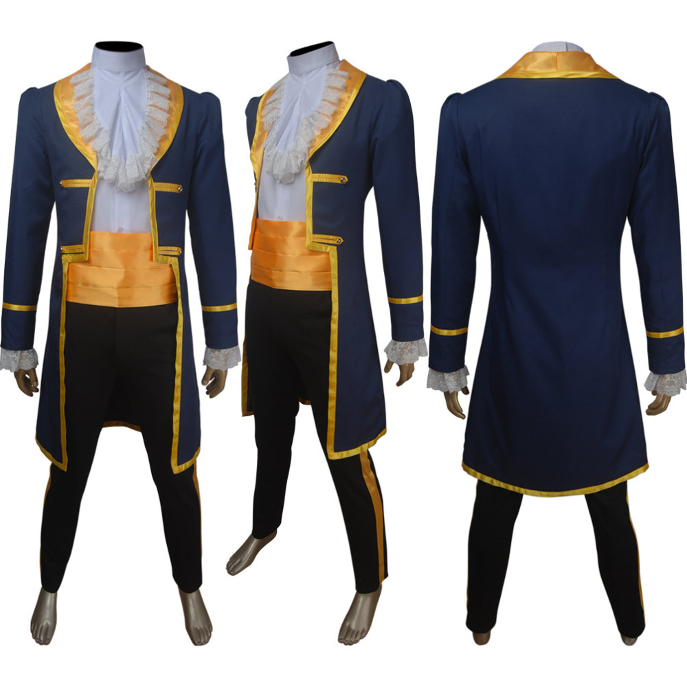 Men's Beauty and the Beast 2017 film Prince Adam cosplay Halloween costume tuxedo suit X'mas Valentine's day birthday gift