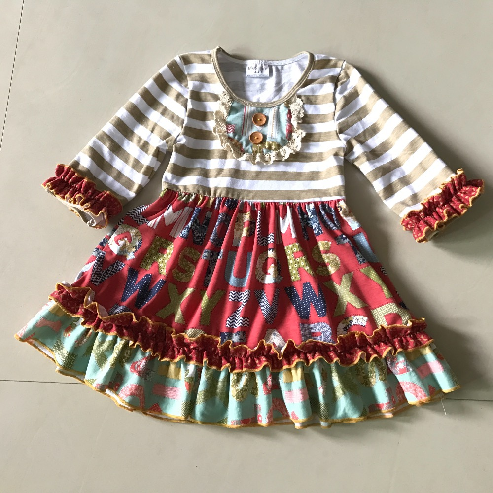 2017NEW Autumn New Style Fashion outfits Baby GIRLS dress Stripe Multicolour Printed and Children clothing