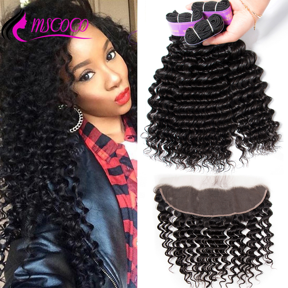 Fashion Style Alipearl Brazilian Deep Wave 4 Bundles With Frontal Closure Human Hair Bundles With Closure Remy Hair Extension Natural Color Human Hair Weaves