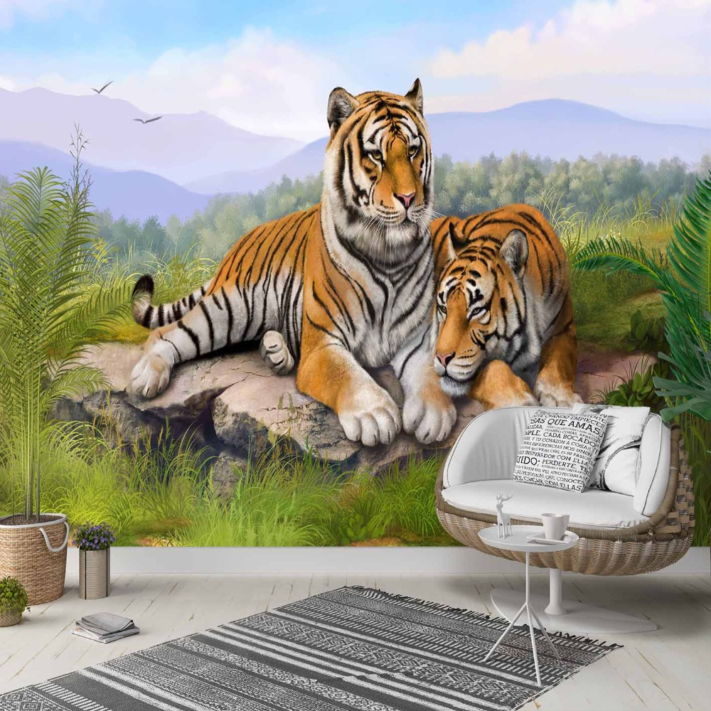 Else Green Jungle Grass Wild Tigers Animals 3d Photo Cleanable Fabric Mural Home Decor Living Room Bedroom Background Wallpaper